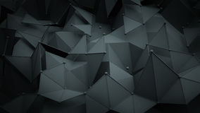 Dark grey polygonal surface 3D rendering background Royalty Free Stock Photography
