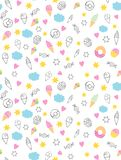 Cute Hand Drawn Sweets Vectorn Pattern. Candies, Ice Creams, Muffins, Donuts. White Background. Pink Hearts and Yellow Stars. Infa. Dark grey sketch of donuts vector illustration