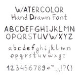 Dark Grey Watercolor Hand Drawn Font Stock Photos
