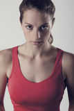 Dark Gritty Sports Woman With Look Of Determination. Female Athlete Game Face Stock Photography