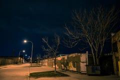 Dark and gritty street scenery at night. Dark and gritty industrial street scenery at night Stock Photos
