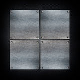 Dark grunge background with metal plates Stock Images