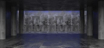 Dark Grunge Concrete Room With Concrete Columns And Empty Space. Wall With Blue Led Light At Top 3D Rendering Illustration royalty free illustration