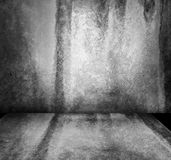 Dark Grunge Texture Background Wall. A dark, grunge textured wall and floor background that is in black and white. There are shadows and highlights Stock Photography