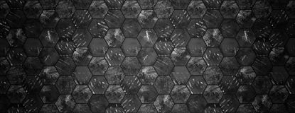 Dark Grungy Hexagonal Tile Texture Website Head. Dark grungy hexagonal tiles with spotlight as a background (can be used as a website head royalty free stock photo