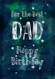Dark, Grungy, Watercolour Birthday Card for Dad. A dark , grungy, textured watercolour birthday card in blues and greens. Completed with watermarks splatters royalty free illustration