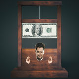 Dark guillotine. Debt concept with man about to get his head chopped off on a dark wooden guillotine, isolated on black background. 3D Rendering Stock Photography