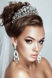Dark hair beauty bride woman wedding portrait Stock Photography