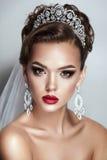 Dark hair beauty bride woman wedding portrait. Brunette bride portrait fashion model on grey background stock image