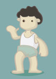 Dark Hair Boy with Blank Face in Oversized Shorts and Singlet Wa Royalty Free Stock Image