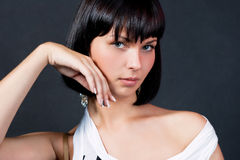 Dark hair caucasian girl expressing sensuality Royalty Free Stock Photo