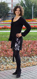 Dark hair girl in black dress Royalty Free Stock Photo