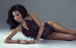 Dark hair lady with amazing body. Dark hair lady with really amazing body royalty free stock photos