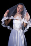Dark hair woman in wedding dress Stock Image
