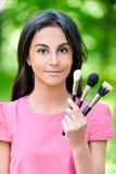 Dark-haired молодая женщина с 3 стоковое изображение rf