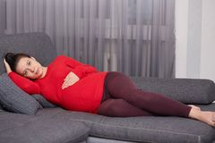 Dark haired attractive future mother lies on comfortable grey sofa, wearing warm bright red sweater and maroon leggings, holds her stock photography
