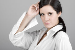 Dark Haired Business Woman Looking at Camera Stock Photos