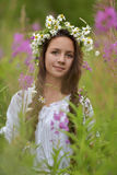 Dark-haired girl with braids and daisies Royalty Free Stock Photo