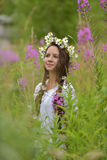 Dark-haired girl with braids and daisies Stock Photo