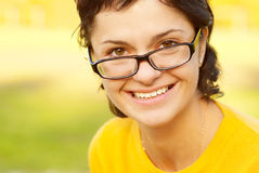 Dark-haired girl in glasses Royalty Free Stock Photo