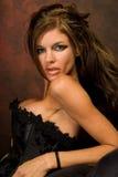 Dark Haired Lingerie Model Royalty Free Stock Images