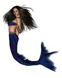 Dark Haired Mermaid - 2 stock illustration