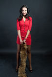 Dark haired tall girl in red dress smiling Royalty Free Stock Images