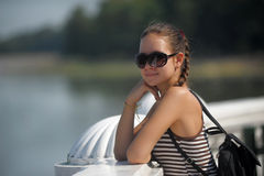 Dark haired teen girl in sunglasses Royalty Free Stock Photo