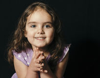Dark Haired Toddler in Studio Stock Photo