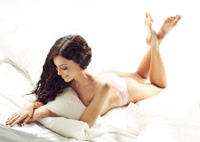 Dark-haired woman with fabulous body Royalty Free Stock Photo