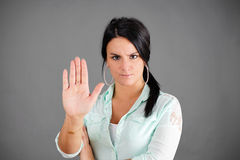 Dark haired woman making no gesture Royalty Free Stock Photography