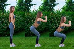 Woman doing exercises in the park stock photography