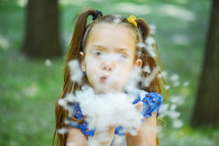 Dark-haired young woman blows cottonwood fluff Royalty Free Stock Image