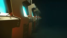Dark hall with a row of vintage arcade machine cabinets screens glow blue and depth of field 3d. Render Royalty Free Stock Image