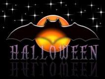 Dark Halloween Bat And Moon Stock Image