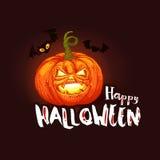 Dark Halloween card with pumpkin and bats Royalty Free Stock Photos