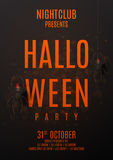 Dark halloween party poster. Vector illustration. Festive card with spiders on spider web. Invitation to nightclub Stock Image