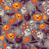 Dark Halloween Seamless Pattern with Icons