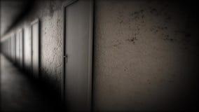 Dark hallway with doors. The terrible corridor.  stock video