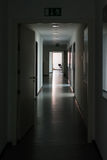 Dark Hallway Light at End Highlight Silence Mysterious Office Da. Ytime Lights Off Royalty Free Stock Photo
