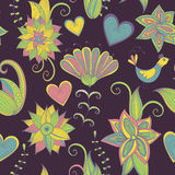 Dark hand-drawn floral background. Seamless pattern. Stock Photography