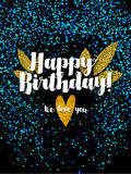 Dark happy birthday card with scattered blue glitter Stock Photo