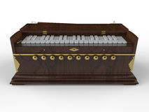 Dark harmonium with golden elements. 3D render illustration of a dark harmonium with golden elements. The object is isolated on a white background with shadows Stock Image