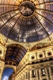 Dark HDR night photo of Galleria Vittorio Emanuele II in Milan Stock Photography