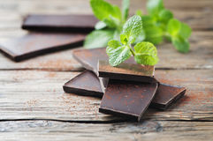 Dark healthy chocolate with mint Stock Photography