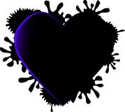 Dark heart with black paint splashes around royalty free illustration