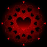 Dark hearts on lace Royalty Free Stock Photography