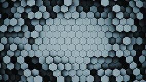 Dark hexagonal cells abstract 3D rendering. Dark hexagonal cells. Abstract modern background. Computer generated 3D rendering Stock Image