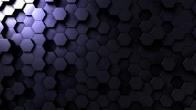 Dark hexagonal loopable background. 3D rendering. Abstract dark hexagonal background 3D Stock Photos