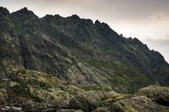 Dark high mountain peaks. In Romania royalty free stock photo